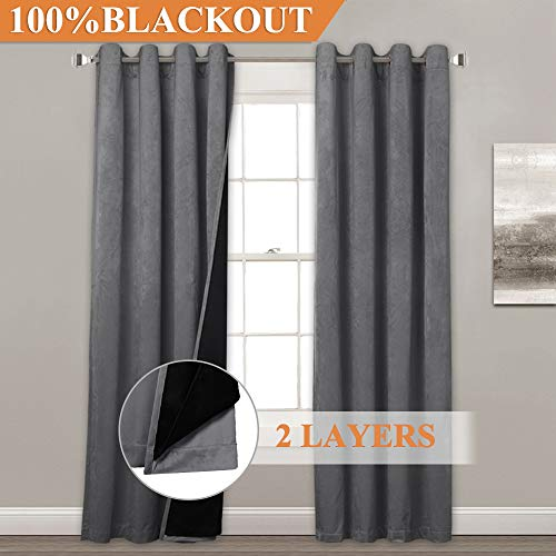 (StangH Double-Layer Blackout Velvet Curtains - Stylish Total Darkness Thermal Lined Patio Sliding Glass Door Curtains Heat & Chill Resistant for Cost Saving, Grey, 52