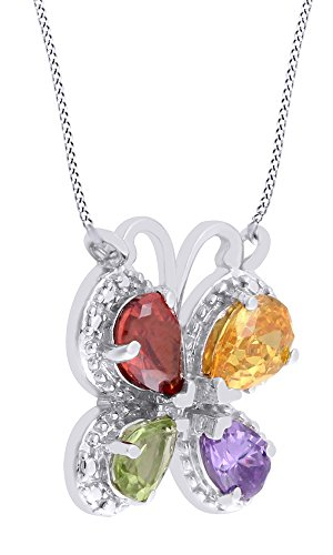 Pear Cut Simulated Multi Stone Butterfly Pendant Necklace In 14K White Gold Over Sterling Silver (Butterfly Multi Pendant Stone)