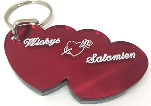 Double Heart Couple Keychain Personalized Custom Name Free Engraved key chain Any Name Personalized Key Ring - A Perfect -