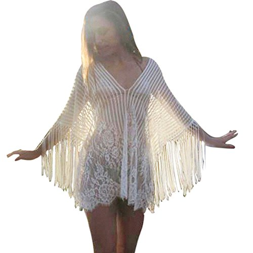(Women Lace Tassel Cover Up,Sexy Crochet Smock Fringed Beach Swimsuit Swimwear Bikini (Free Size, White))