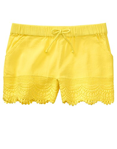 Crazy 8 Little Girls' Drawstring Woven Lace Trim Short, Yellow, (Lace Woven Shorts)