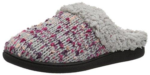 Dearfoams Women's Tweed Knit Clog Slipper, Light Heather Grey