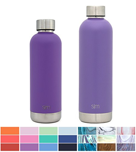 Custom Water Bottles - Simple Modern 17oz Bolt Water Bottle - Stainless Steel Hydro Swell Flask - Double Wall Vacuum Insulated Reusable Purple Small Kids Metal Coffee Tumbler Leak Proof Thermos - Lilac