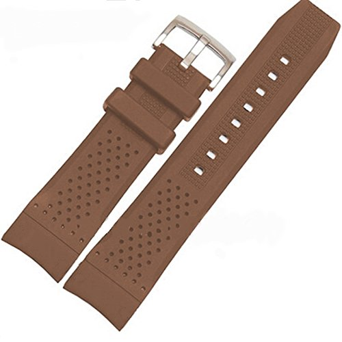 24mm Brown Silicone Rubber Curved End Dive Watch Band Strap
