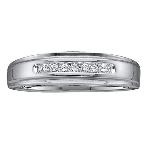 Sonia Jewels Size 10-14k White Gold Mens Round Diamond Channel-Set Wedding Anniversary Band Ring 1/12 Cttw (Solitaire Diamond Mens Band)