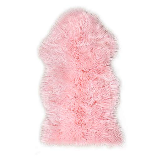 Ojia Faux Sheepskin Fur Rug Soft Fluffy Carpets Chair Couch Cover Seat Area Rugs for Bedroom Sofa Floor Living Room( 2 x 3ft,Pink)