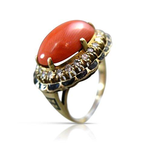 Milano Jewelers LARGE .30CT DIAMOND & CORAL 14KT YELLOW GOLD ENAMEL FILIGREE RING #24923 ()