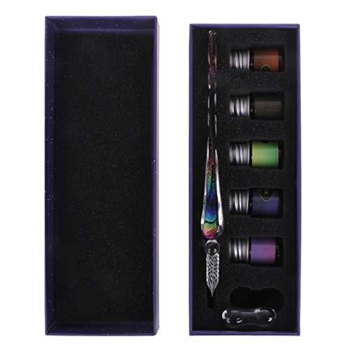 Forgun Crystal Starry Sky Glass Ink Pen Glass Dip Pen for Writing Fountain Pen Set Gift