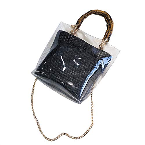 HHmei Woman Trendy Clear Jelly Shoulder Bags Ladies Bamboo Weave Handbags for Party (Black)