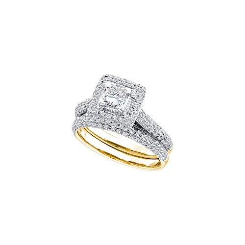 14kt Yellow Gold Womens Princess Diamond Halo Bridal Wedding Engagement Ring Band Set 1-1/4 Cttw by JawaFashion