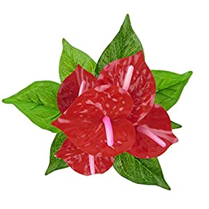 MARJON Flowers1 Pc Artificial Plants Red Anthurium Fake Flowers Lifelike Indoor Decoration Never Wither and Fall (no Pot) Size 33cm (Red+Green) 8