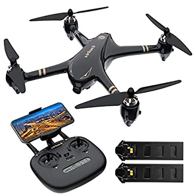 Virhuck V-6 RC Drone with 1080p FHD Camera 5G WiFi FPV Live Video and GPS Return Home Function RC Quadcopter for Beginners Adults with Brushless Motor, Follow Me, Double Play Time (+Bonus Battery) from Virhuck