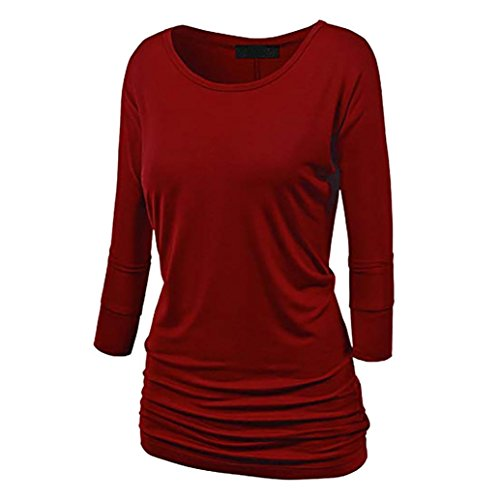Causel T-Shirt Plus Size Tops Tunic,Women Loose T-Shirt Solid Short Sleeve Tops Deep V Neck Blouse [Clearance] (Long Sleeve Wine, ()