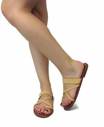 Ring On Tan Focus Slip Metric Over Flat Fashion Sandal Double Toe Fashion Toe Strap AnwrwIqO0