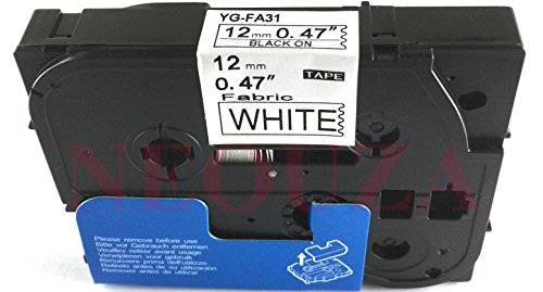Black on White Label Compatible for Brother Tz FA31 TZe FA31 Iron On Fabric Tape 12mm (Brother Label Fabric compare prices)