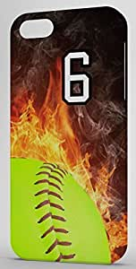 Softball In Flames Sports Fan Player Number 6 Clear Rubber Decorative iPhone 5/5s Case