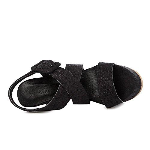 AllhqFashion Mujeres Esmerilado Hebilla Puntera Abierta Tacón de aguja Sólido Sandalia Negro
