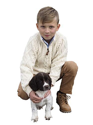 - Aran Crafts Boys Half Zip Sweater 4/5 Natural (Z4559-4/5-NAT)