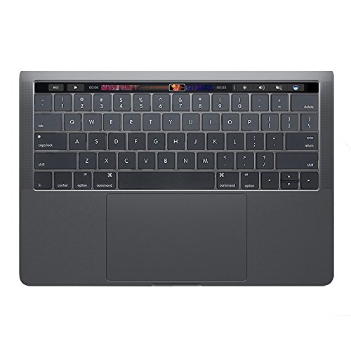 Se7enline Keyboard Cover for MacBook Pro 13 15 inch (With Touch Bar) 2016/2017/2018 Version Model A1706/A1707/A1989/A1990 Silicone Protective Cover Skin (US Layout), Ombre Gray