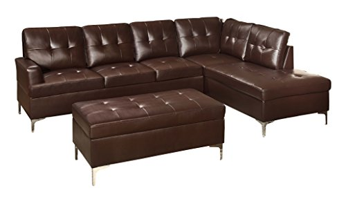 Vinyl Sectional Couch - Homelegance 3-Piece Tufted Accent Sectional Sofa with Chaise and Ottoman Bi-Cast Vinyl, Brown