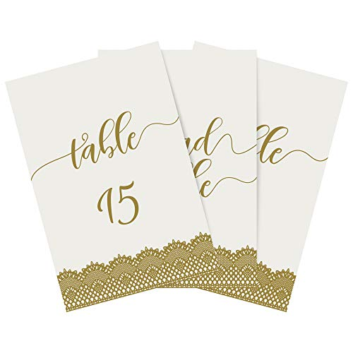 Dessie Wedding Table Numbers (Gold)| 5x7 inch Double Sided with Elegant Calligraphy Design to Liven Up Any Table| Includes Numbers 1-25 and Head Table Card (Also in Silver, Black and Rose Gold) ()