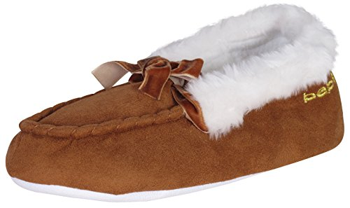 'Bebe Girls Microsuede Faux Fur Moccasin Slippers with Velvet Bow and Embroidered Bebe Logo, Cognac/Gold, Size 11/12' - Cheap Moccasin Boots