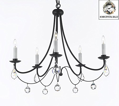Empress Crystal (Tm) Wrought Iron Chandelier Chandeliers Lighting H.22.5″ X W.26″ with Crystal Balls! Swag Plug In-chandelier w/ 14′ Feet of Hanging Chain and Wire!