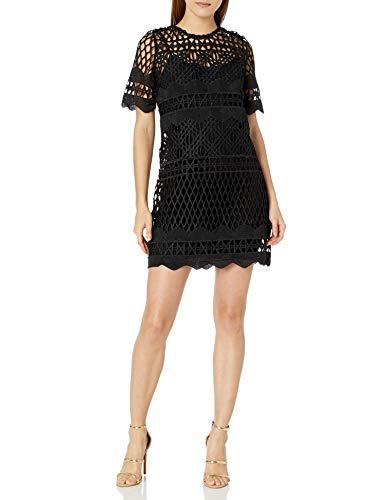 Kendall + Kylie Women's Crochet A-line Dress, Black, L