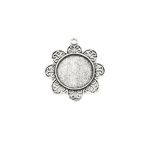"20 Deannassupplyshop Flower Circle Pendant Trays - Antique Silver Color - 1 Inch - 25mm - Pendant Blanks Cameo Bezel Settings Photo Jewelry - Custom Jewelry Making - 1"""
