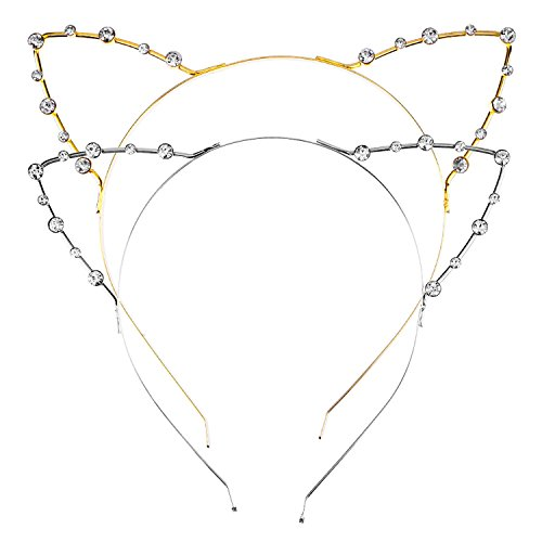 Mudder Cat Ear Headband, 2 Pieces, Gold and Silver (Headband Piece 2)