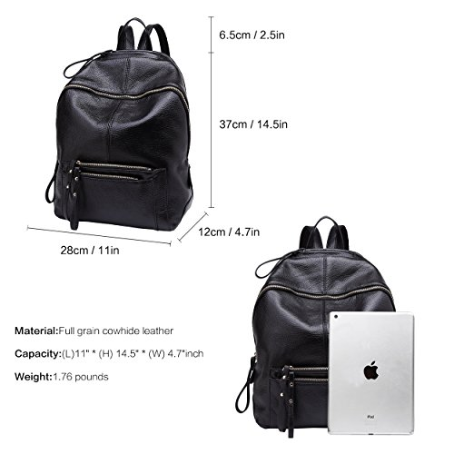 Black Rucksack Purse Bag Travel School Leather BOYATU a Backpack for Genuine Women 0qAxfqavpg