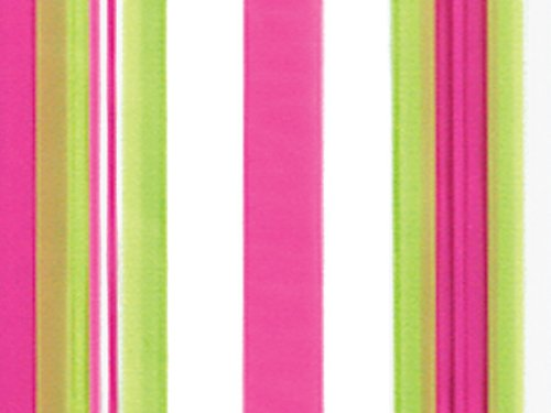 Pack Of 100, Sweet Pink And Lime Green Vertical Stripes Taffy Cello Bags 1.2 Mil 4 X 2 X 9'' Capacity 3 Cups Made In USA by Generic