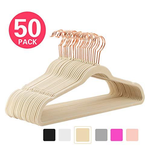(MIZGI Premium Velvet Hangers (Pack of 50) Heavyduty - Non Slip - Velvet Suit Hangers Ivory - Copper/Rose Gold Hooks,Space Saving Clothes Hangers)