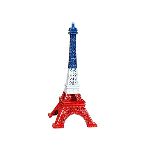 Ecom City French Eiffel Tower Metal Vintage Statue Figurine Replica Centerpiece Room Table Décor Jewelry Stand Holder French Souvenir (Blue, White & Red)