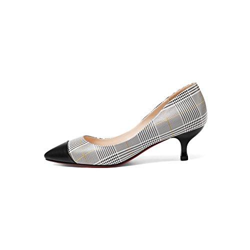 los elegante Zapatos impresion Moda Treinta tacon de AJUNR cuatro Sandalias La Solo medio color fino y de de Tacon Poca La coincidencia mujer zapatos Black 5cm boca zapatos 34 Lattice Transpirable Hd5ZIZq