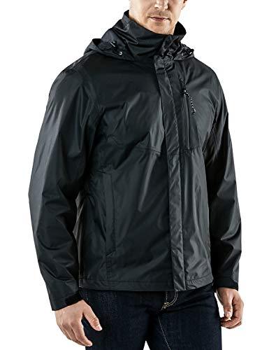 TSLA Men's Outdoor Raincoat Watertight Water Proof Gear Rain Defender Packable Jacket, Rainjacket 2layer(met23) - Black & Black, Large