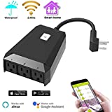 Wifi Outdoor Smart Plug Outlet, CTUDP Wireless (3 AC Outputs) Compatible with Alexa and Google Home& IFTTT, Waterproof Timer Socket for Indoor Outdoor Use, Wireless Remote Control via Smartphone