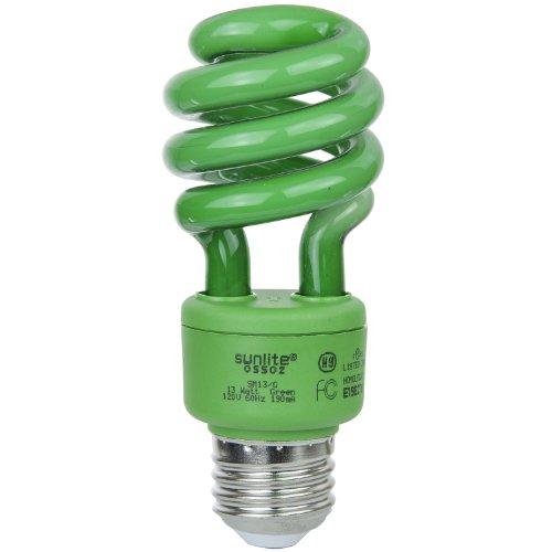 (Sunlite SM13/G 13-watt Spiral Energy Saving Compact Fluorescent CFL Light Bulb (40-Watt Incandescent Equivalent), Medium Base, Green)