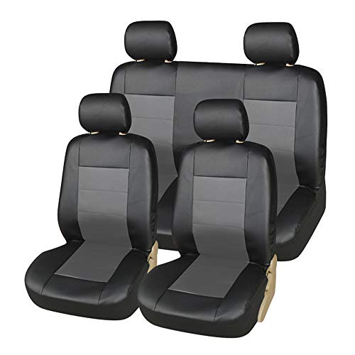 CARWORD PU Leather Car Seat Covers Protectors for Front & Rear Air Bag Compatible Only Fit for Detachable Headrest, Black