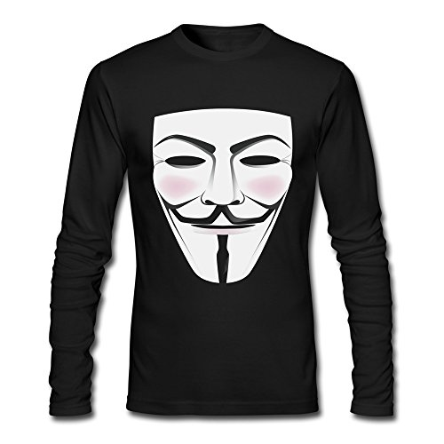 Anonymous Man Costume (Seico Mens V For Vendetta Mask Freedom Fighter Tshirts Black Size XXL)