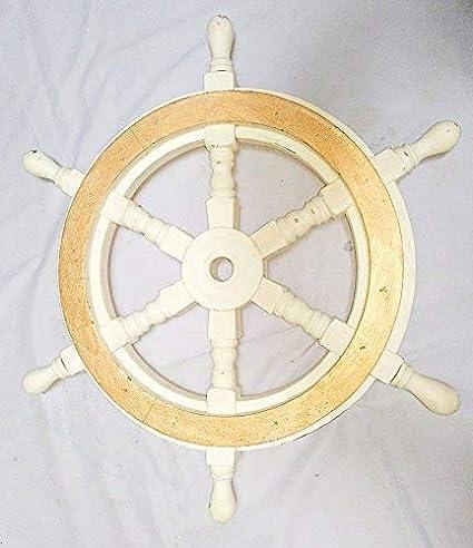 Hind Handicrafts Ruedas de Madera para Barco y Barco de Madera, 45 cm, Color
