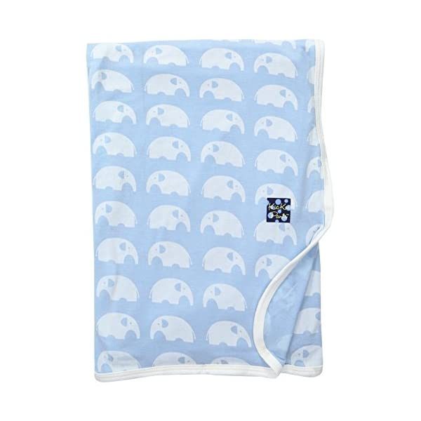 KicKee Pants Print Swaddling Blanket (One Size, Pond Elephant)