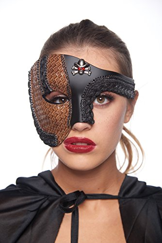Half-Face Woven Faux Leather Steam Punk Masquerade Mask with Skull/Crossbones (Unisex; One Size Fits Most;