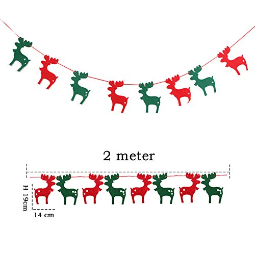 Since Christmas Party Bunting Felt Fabric Merry Xmas Banner Decorations with 8 Pendants (Christmas Deers)
