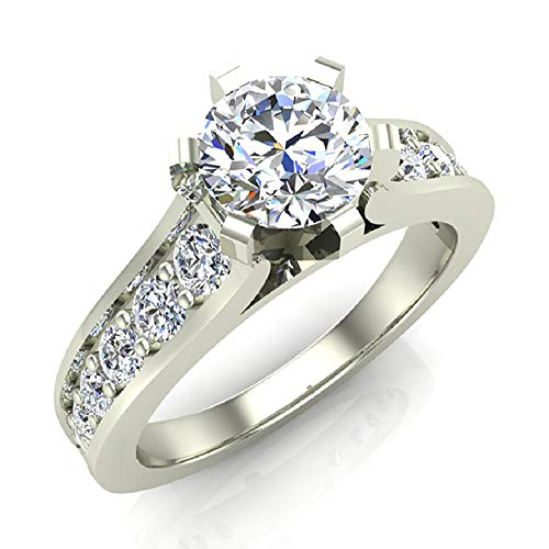 18k 18k Wg Ring - Round Brilliant Riviera Shank Diamond Engagement Ring 1.00 Carat Total Weight 18K White Gold (Ring Size 4.5)