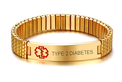MEALGUET Type 2 Diabetes Stainless Steel Gold Plated Medical Alert ID Stretch Allergy Medical Bracelet for Men Women