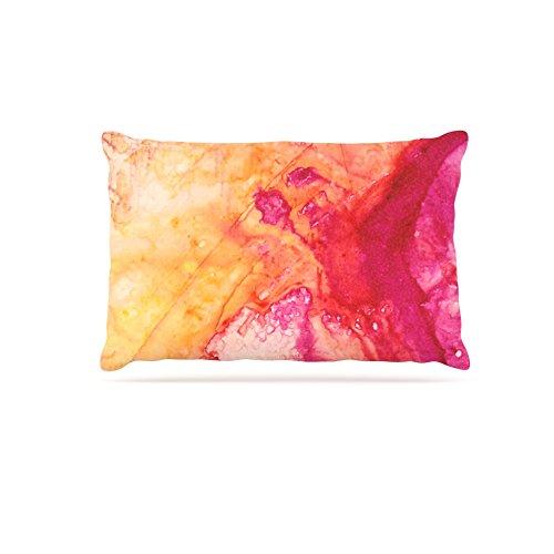 30 by 40\ Kess InHouse Malia Shields color River IV  orange Pink Fleece Dog Bed, 30 by 40