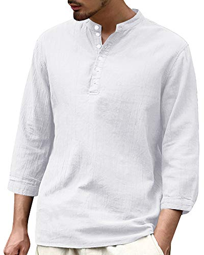 Makkrom Mens Casual Loose 3/4 Sleeve Banded Collar Linen Cotton Shirt with Buttons