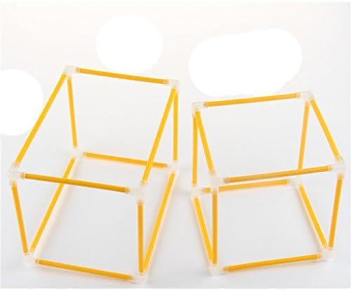 全3カラー 数学学習 指導ツール キューブ 立方体 教育補助おもちゃ - 黄