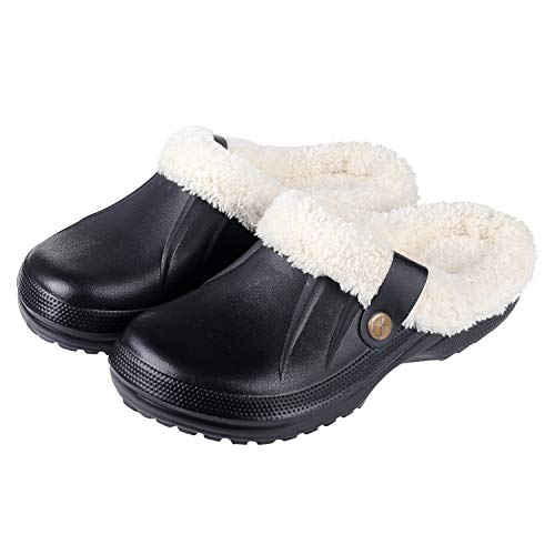 Price comparison product image Womens Fuzzy House Slippers Warm Faux Fur Lining Fluffy Cozy Slippers Winter Indoor Outdoor Garden Clogs Shoes